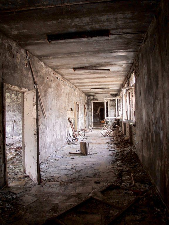 Visiting the Chernobyl Exclusion Zone; hallway in Pripyat, Ukraine