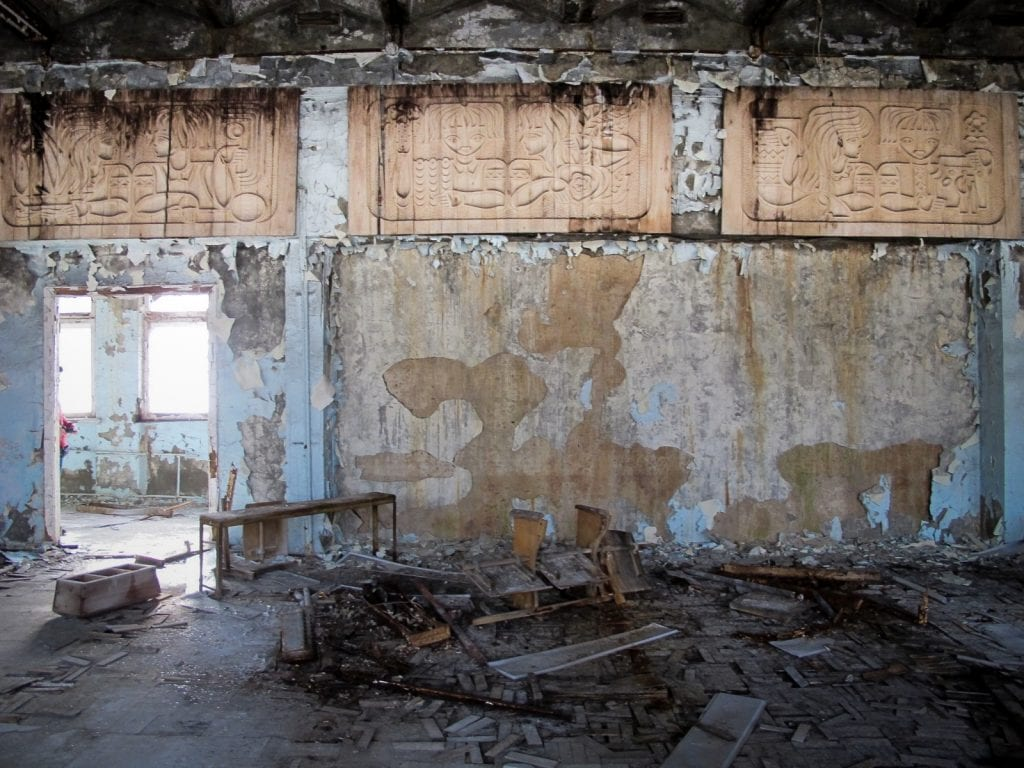 Visiting the Chernobyl Exclusion Zone; school in Pripyat, Ukraine