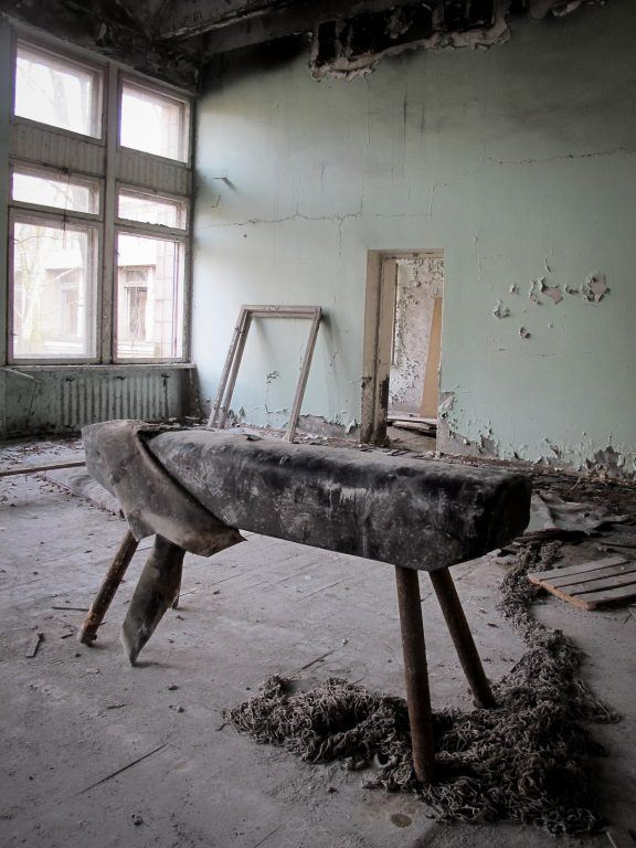 Visiting the Chernobyl Exclusion Zone; gym inside school in Pripyat, Ukraine