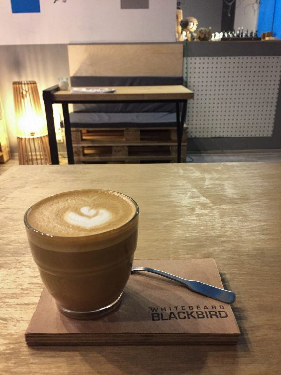 Flat white at Whitebeard Blackbird in Kiev, Ukraine