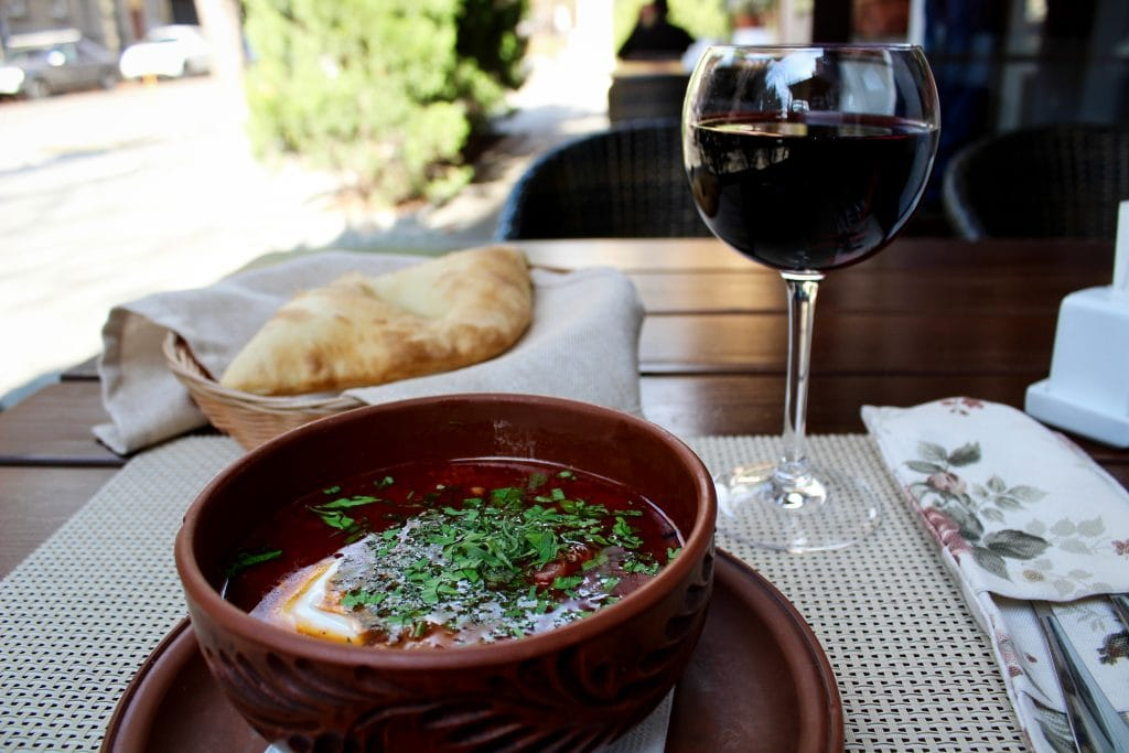 Borscht and wine in Kharkiv, Ukraine