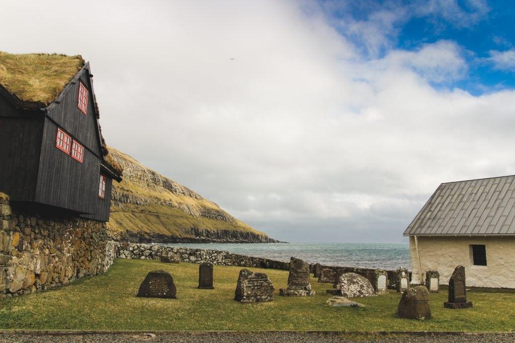 Kirkjubøargarður to the left and St Olav's church on the right