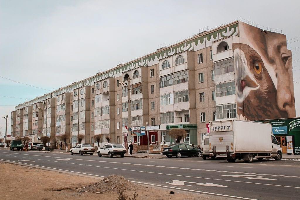 balykchy, kyrgyzstan on issyk-kul building