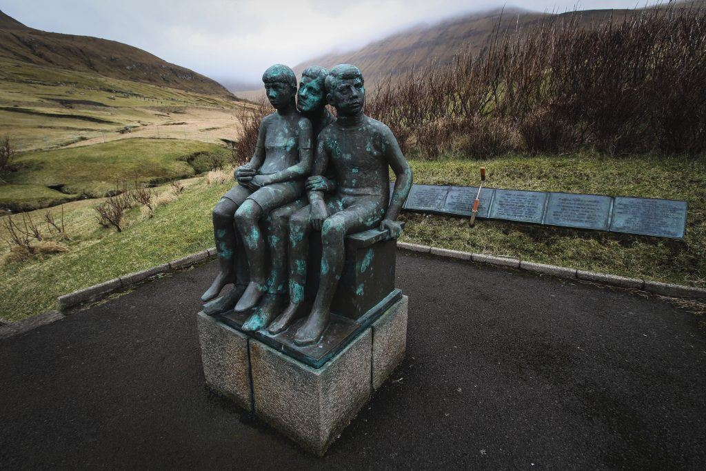 Statue in Gjogv, Faroe Islands fishermen