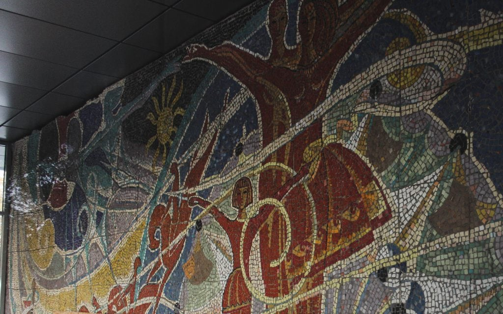 Soviet Mosaic by the cable cars in Kharkiv, Ukraine