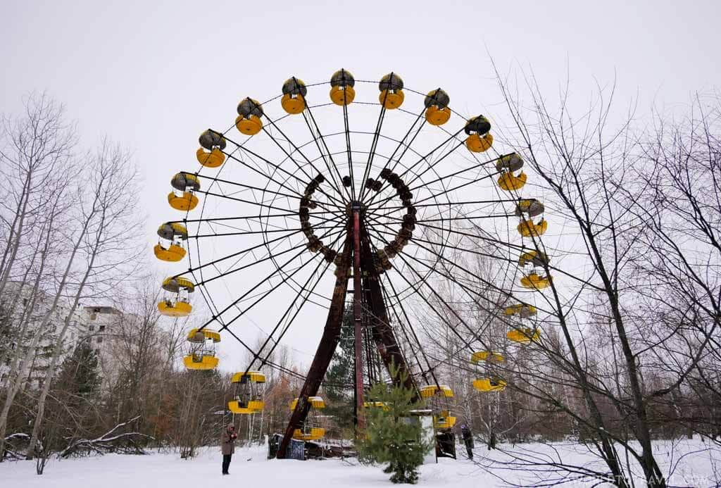 the ferris wheel in Pripyat, Ukraine in the Chernobyl Exclusion Zone