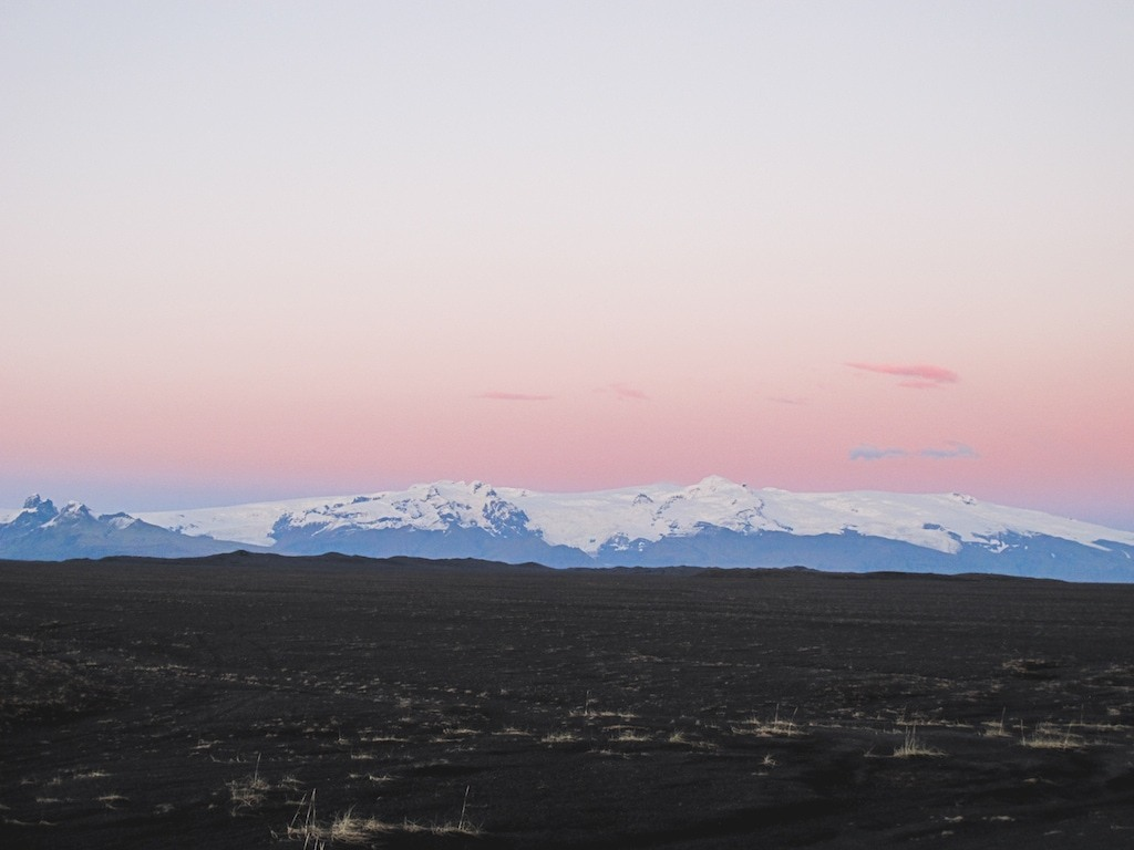 Pink sunset on an Iceland road trip