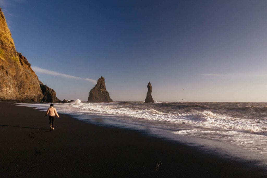 Black sand beaches along Ring Road in Iceland