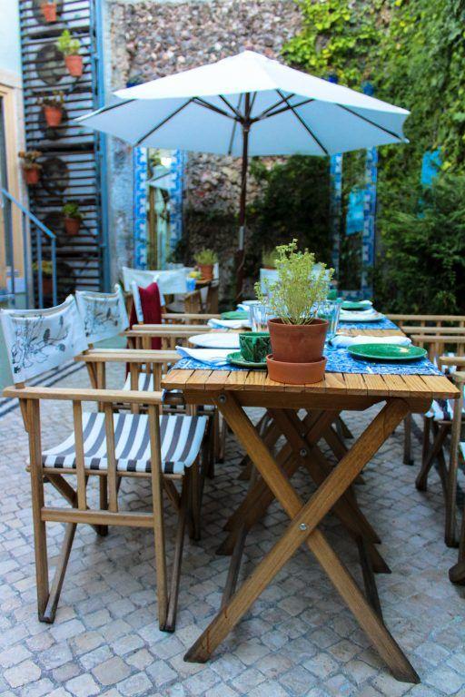 Breakfast on the terrace at Casa Amora in Lisbon, Portugal
