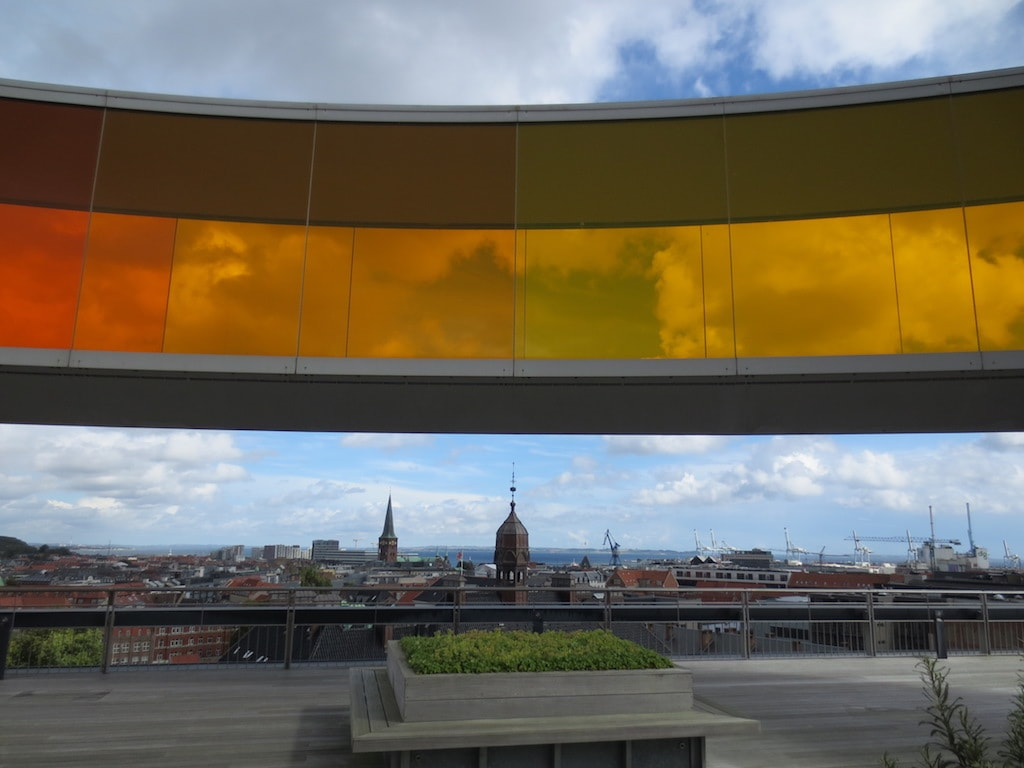 the view from the roof of ARoS with the panorama included in Aarhus, Denmark