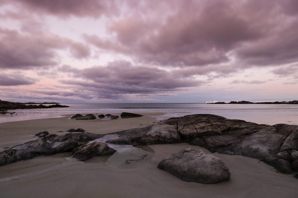 gimsøy beach in lofoten islands in norway with pink skies