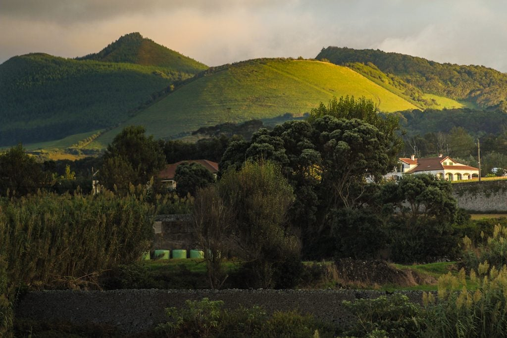 Santa Barbara Lodge by Santa Barbara Eco-Beach Resort in Sao Miguel, Azores hiking nearby ocean views and cliffs and green hills and mountains