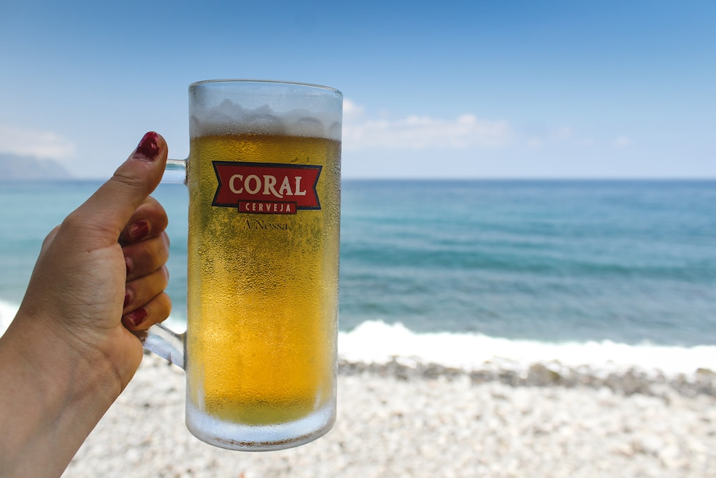 coral beer in madeira portugal by the sea