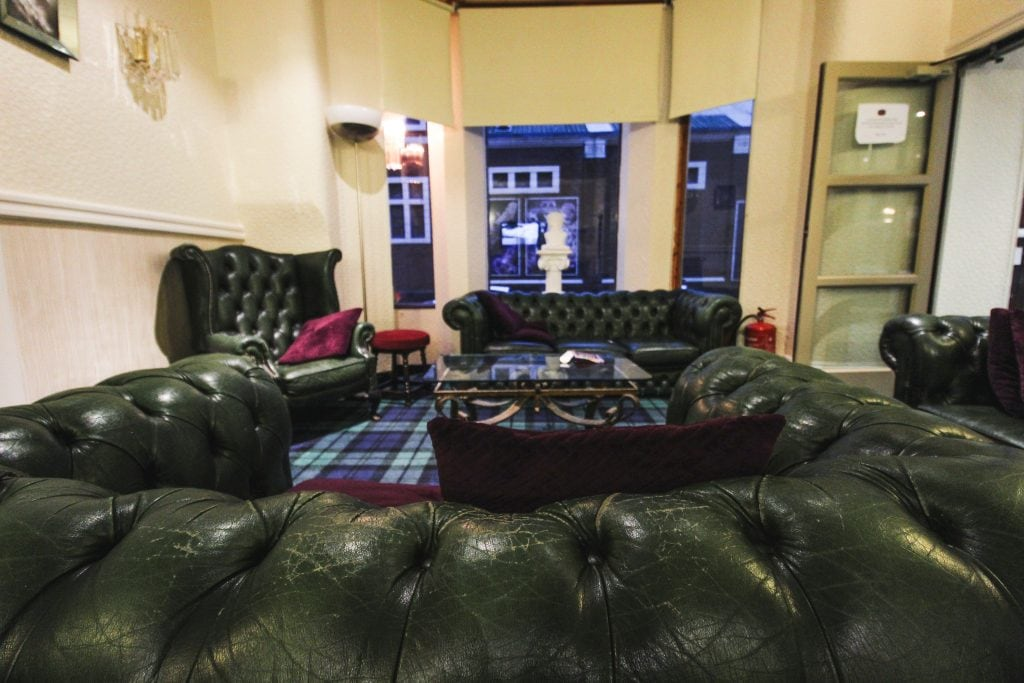 couch at the melville hotel in blackpool, england