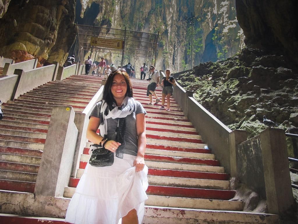 Megan Starr at the Batu Caves in Kuala Lumpur, Malaysia