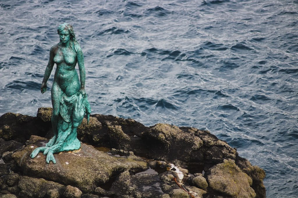 selkie seal woman statue in mikladalur on kalsoy in the faroe islands