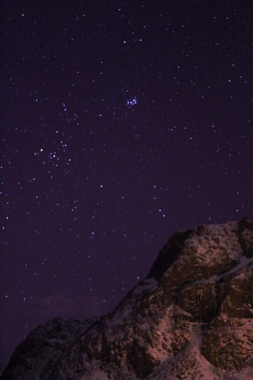 starry sky over lofoten islands during december svolvær