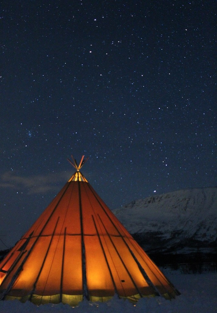 lavvu in tromso, norway during a sami culture tour with tromso lapland