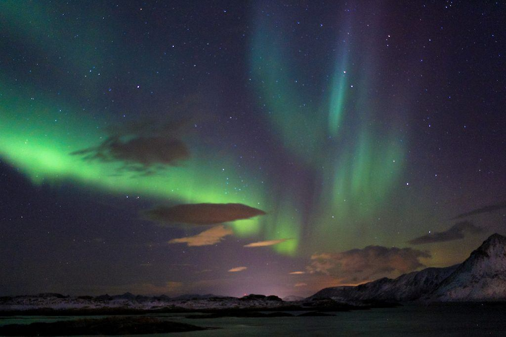 northern lights over lofoten islands during december svolvær