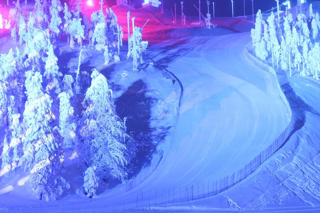 polar night light festival in ruka, finland skiing