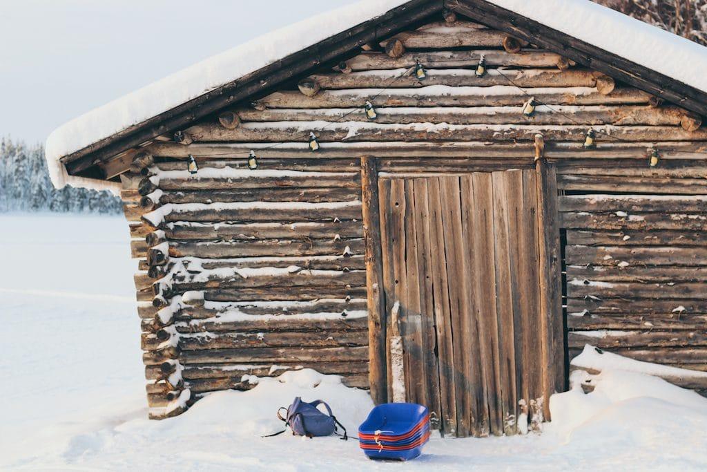 snow and cabin at pohjolan pirtti in kuusamo lapland finland