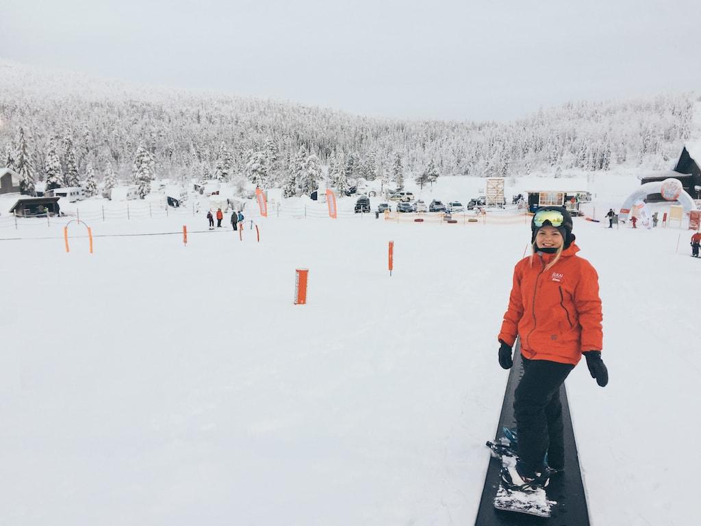 snowboarding at ruka ski resort in lapland finland