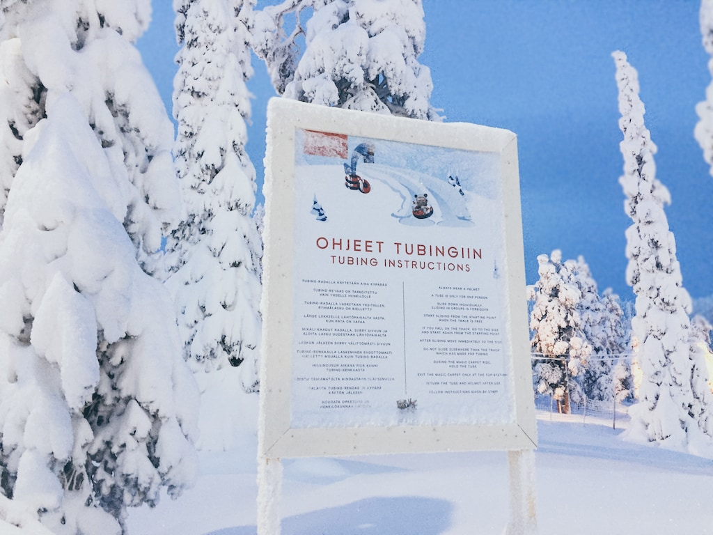 tubing at ruka ski resort in finland lapland