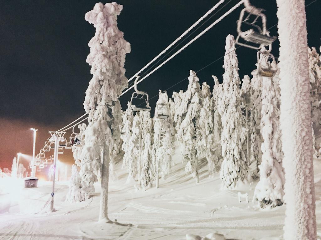 ski lifts at ruka, finland ski resort