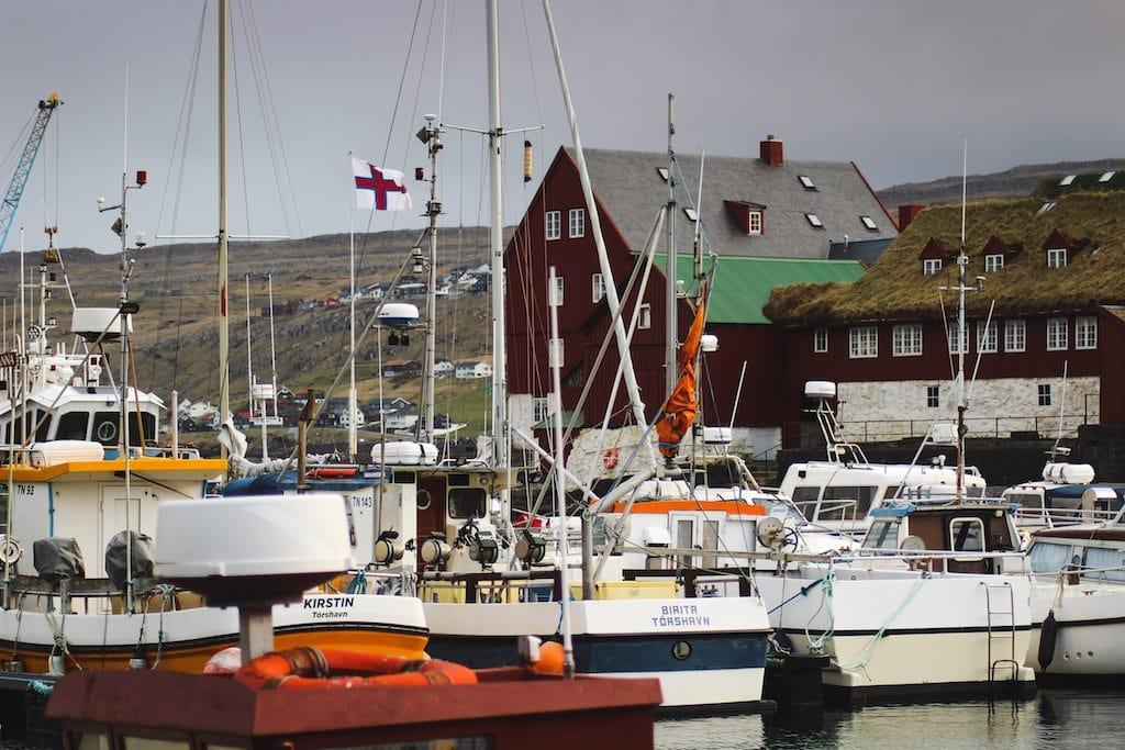 torshavn harbor in the faroe islands with boats