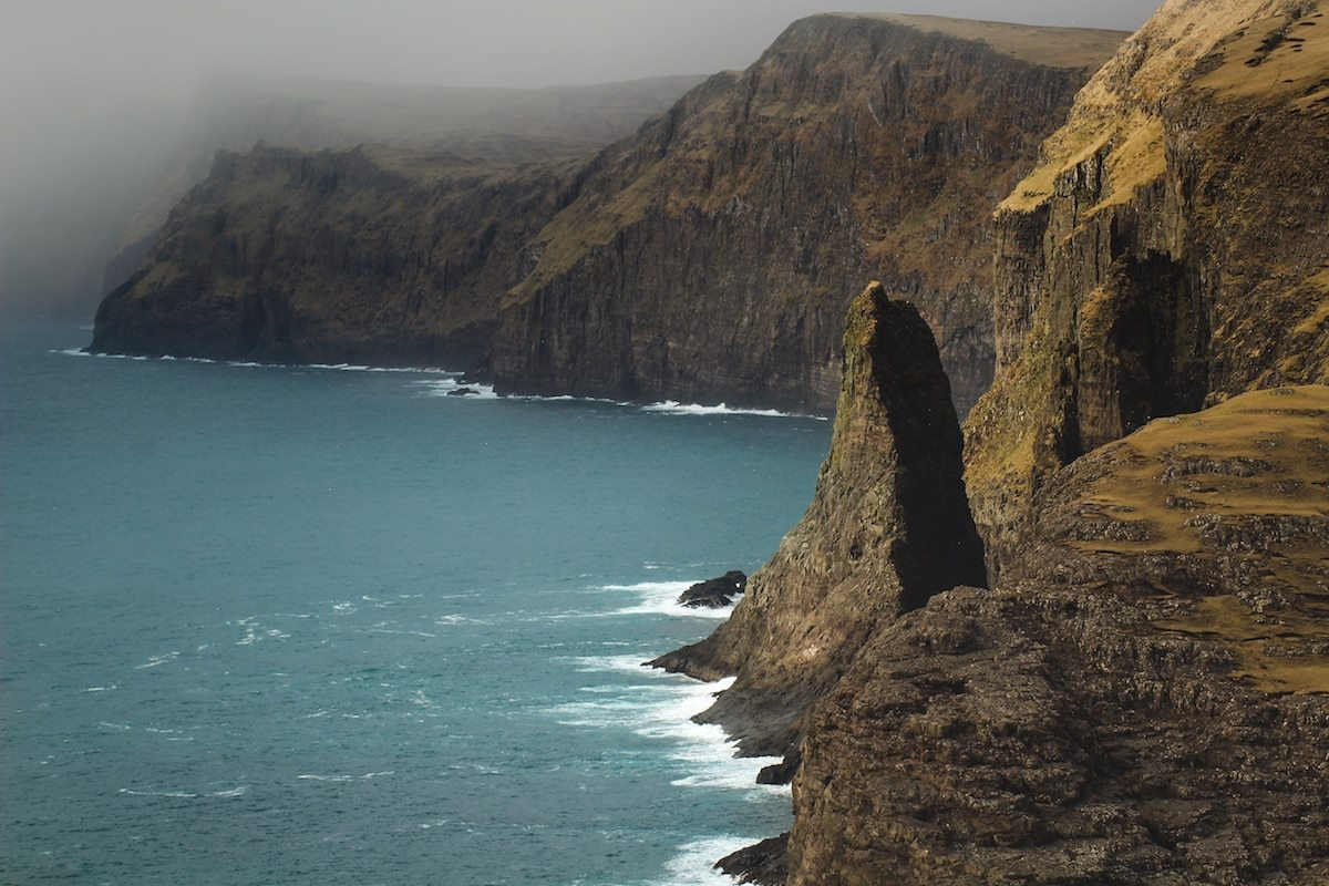 atlantic ocean from vagar in the faroe islands