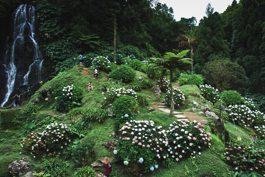 Parque Natural da Ribeira dos Caldeiroes forest in sao miguel azores