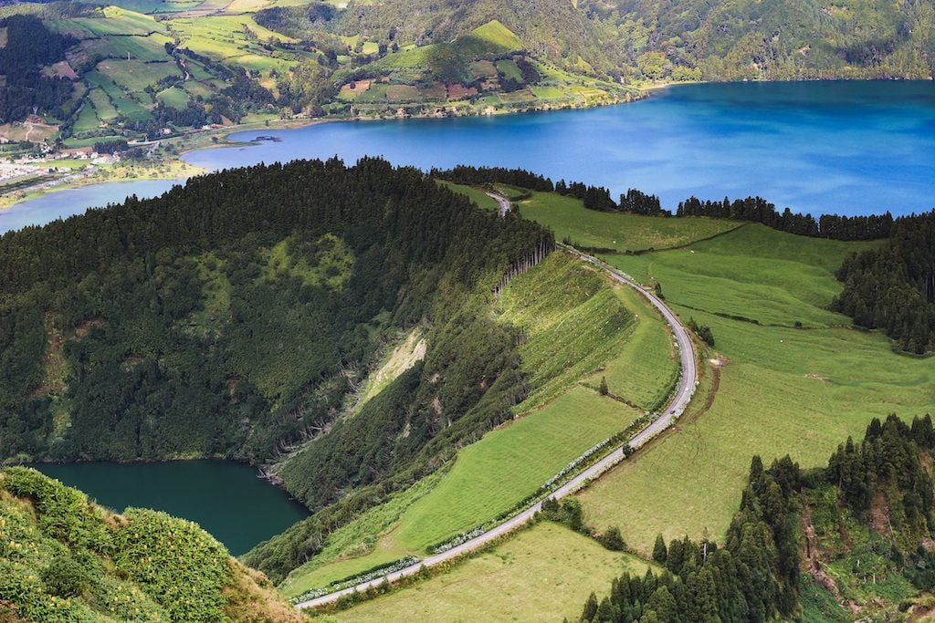 Sete Cidades crater volcanic lake Sao Miguel, Azores from above