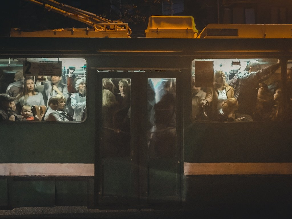crowded tram in kharkiv, ukraine