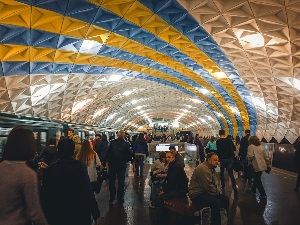 sportyvna metro station with ukrainian flag colors in kharkiv, ukraine