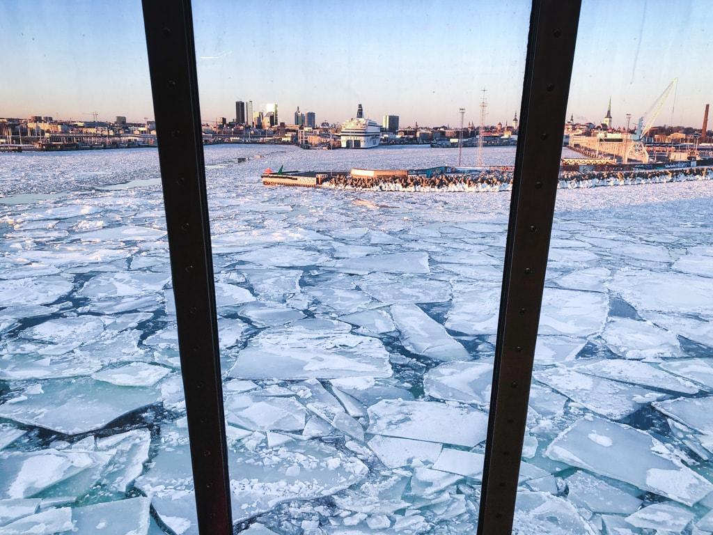 Tallinn to Helsinki Ferry: Cruising Across the Baltic Sea with Tallink Megastar sea ice view