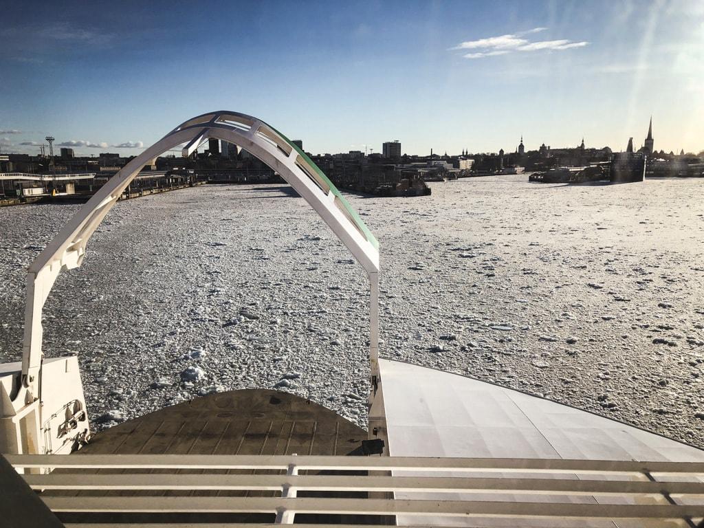 Tallinn to Helsinki Ferry: Cruising Across the Baltic Sea with Tallink Megastar sea ice on baltic sea