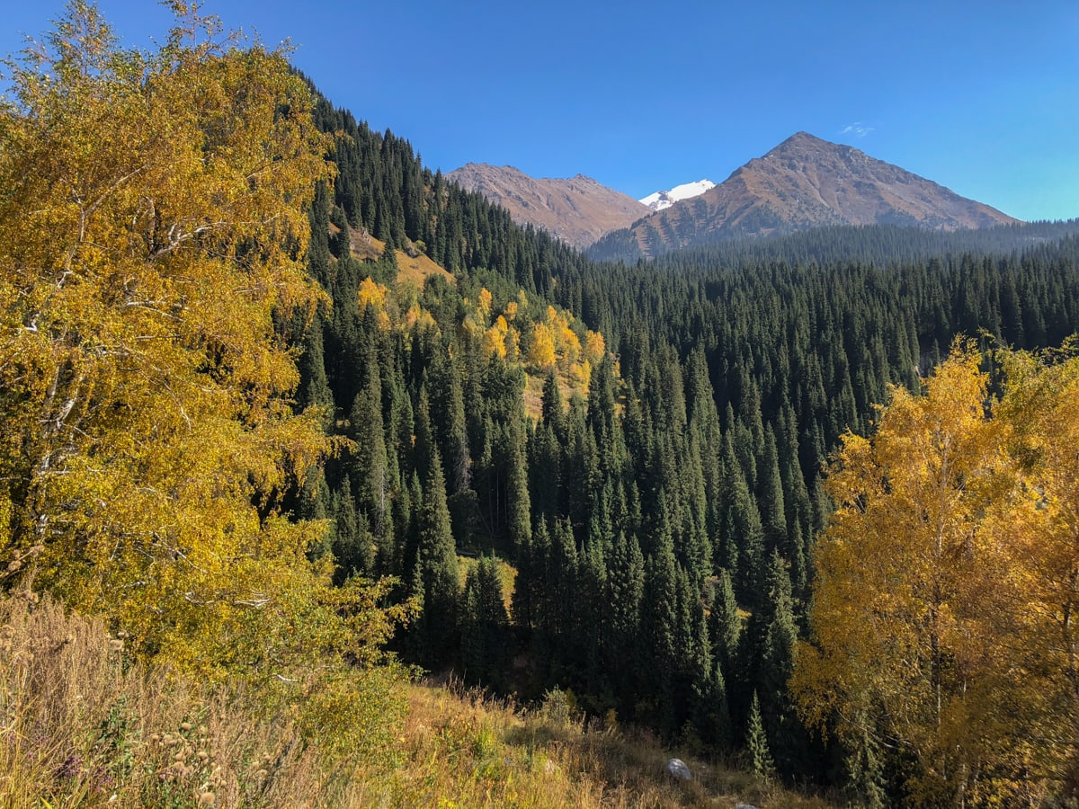 autumn on the way to big almaty lake kazakhstan