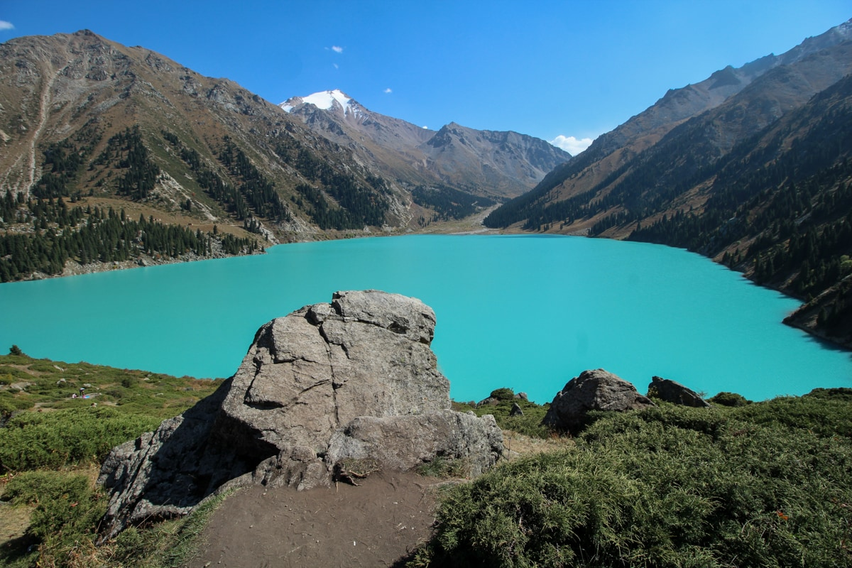 view of big almaty lake kazakhstan