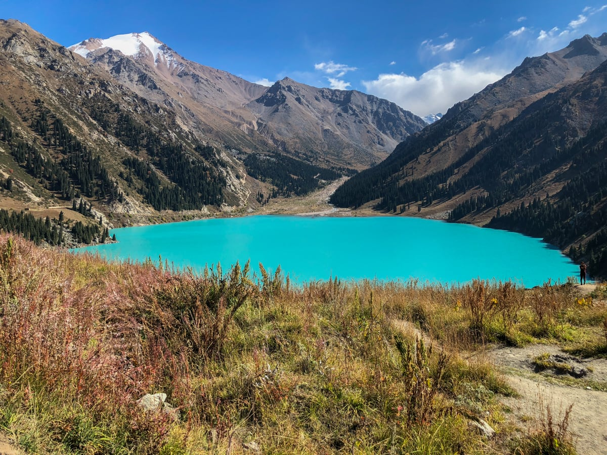 wide angle photo of big almaty lake in kazakhstan