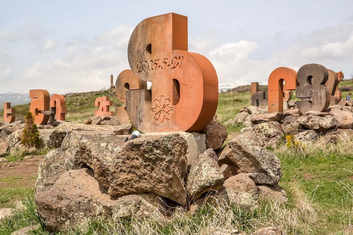 25 Amazing Places to Visit in Armenia - Armenia Alphabet Monument - Photo from Kamila Napora from Kami and the Rest of the World Travel Blog