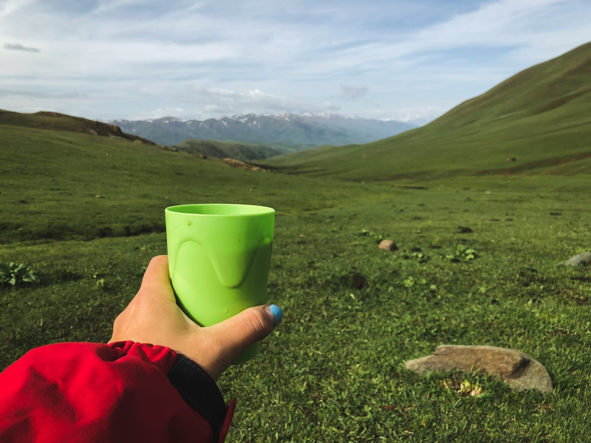 Central Asia Travel Tips: 50 Things to Know and Do Before You Visit coffee with a view in kyrgyzstan