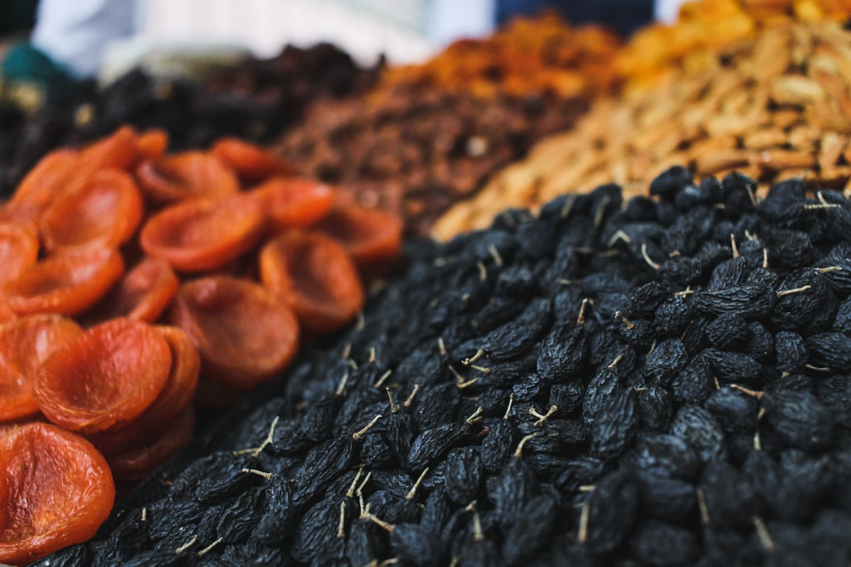 Central Asia Travel Tips: 50 Things to Know and Do Before You Visit mosque dried fruit at green bazaar in almaty, kazakhstan