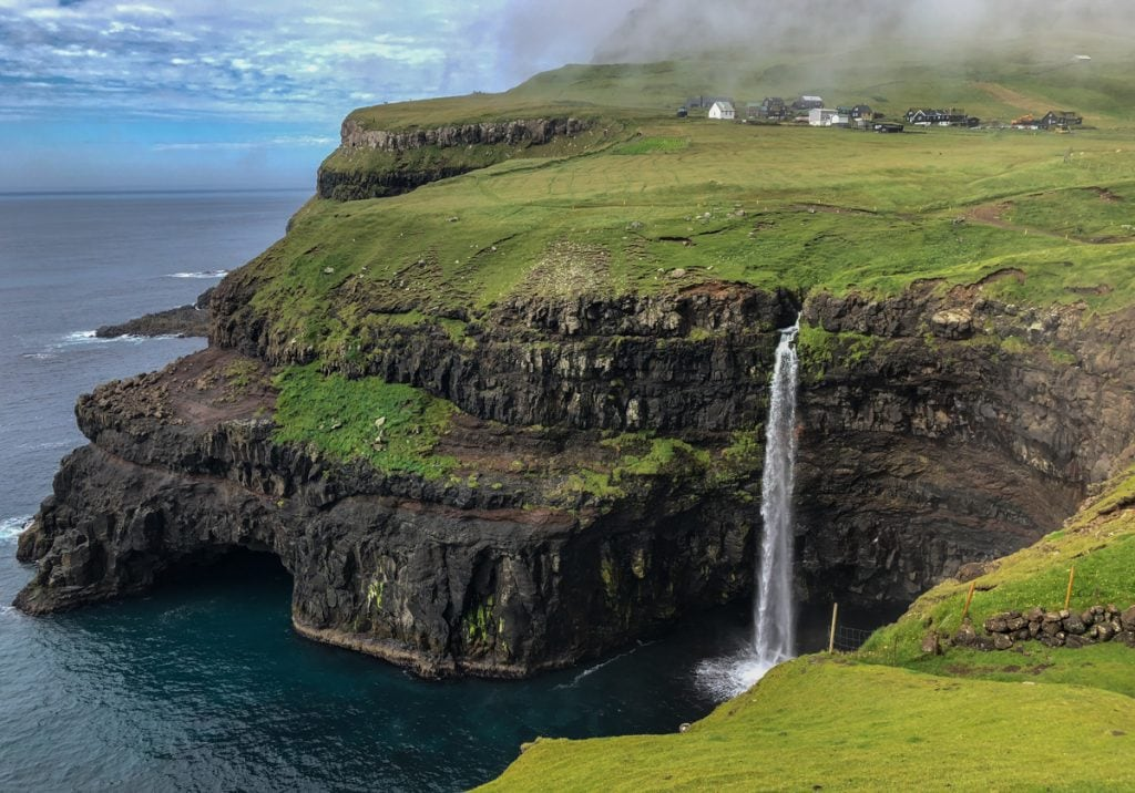 Múlafossur Waterfall from Gasadalur village on Vagar - Visit Faroe Islands: A Guide to the Best Views and Photography Spots
