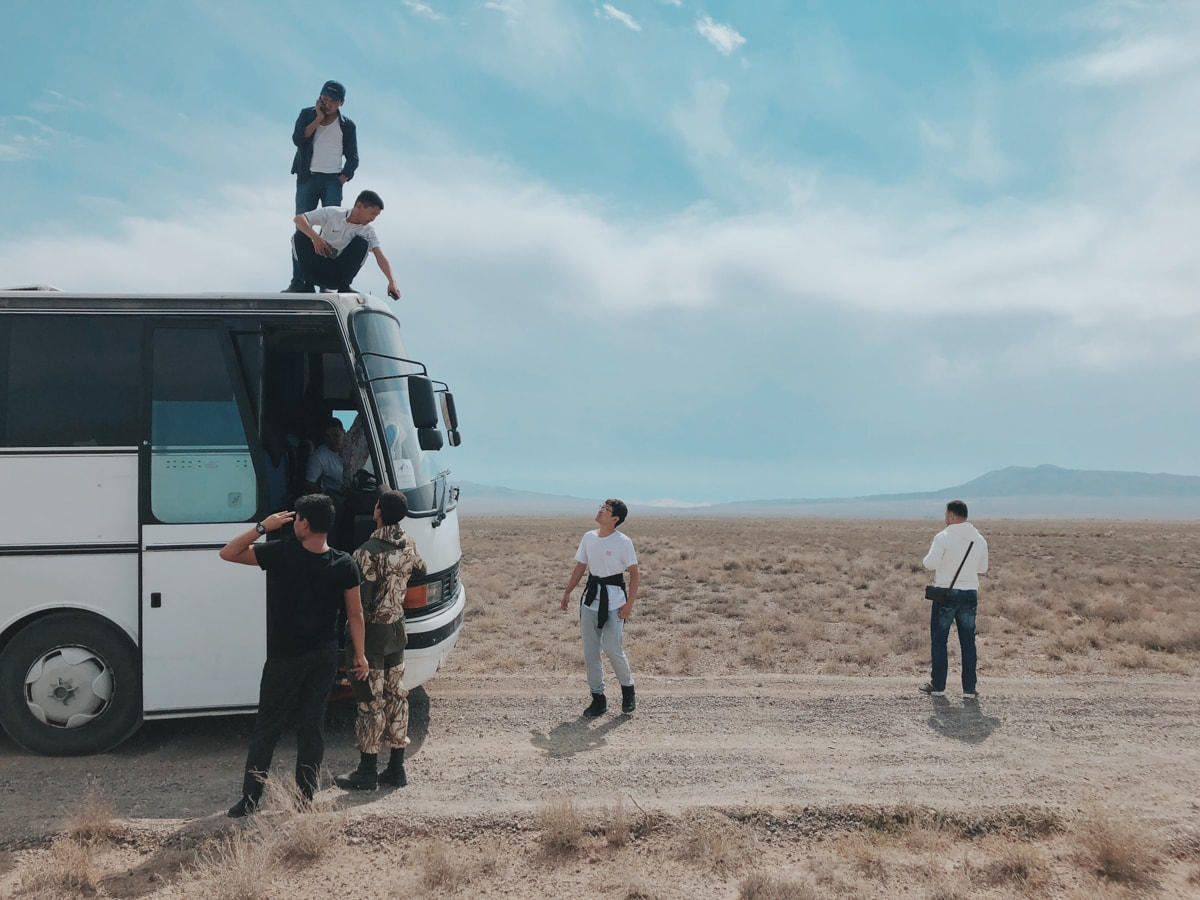 Singing Dunes Altyn Emel National Park Kazakhstan bus breakdown in desert