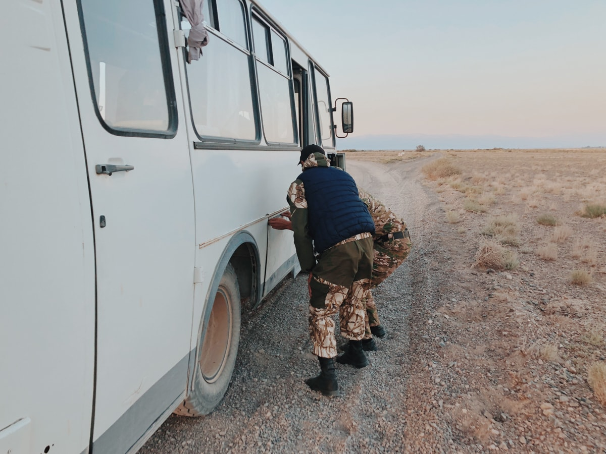Singing Dunes Altyn Emel National Park Kazakhstan door fell off police vehicle