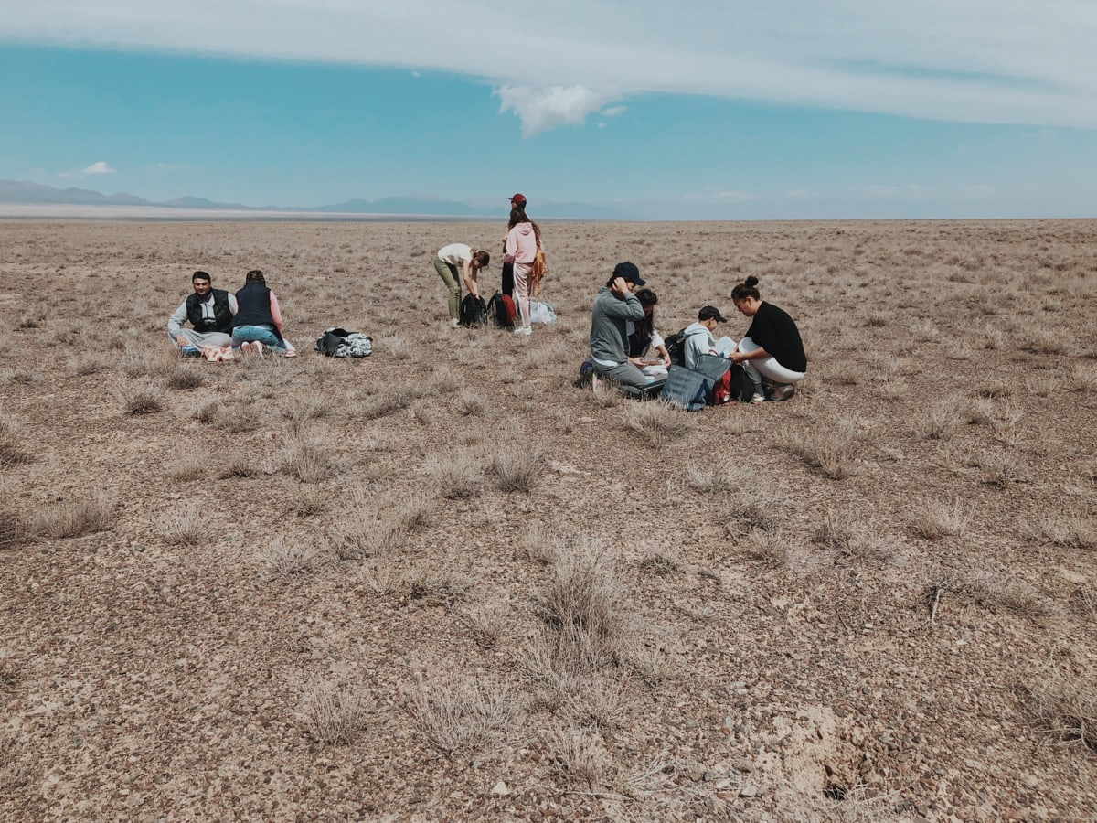 Singing Dunes Altyn Emel National Park Kazakhstan break down on the steppe