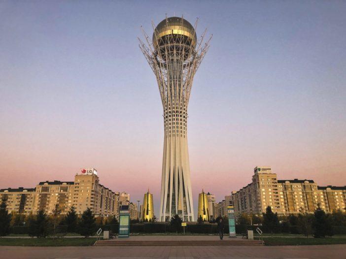 baiterek at sunset in astana kazahstan