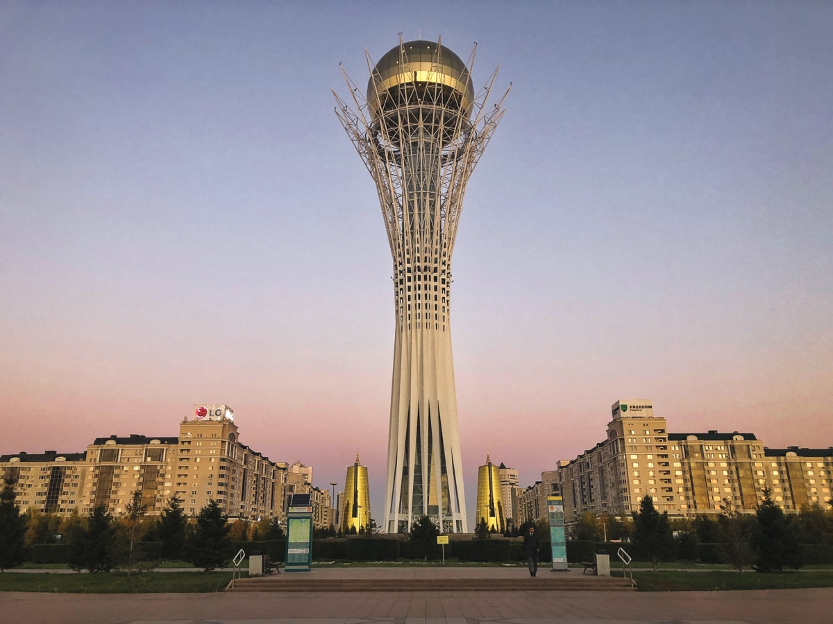 baiterek at sunset in astana kazahstan