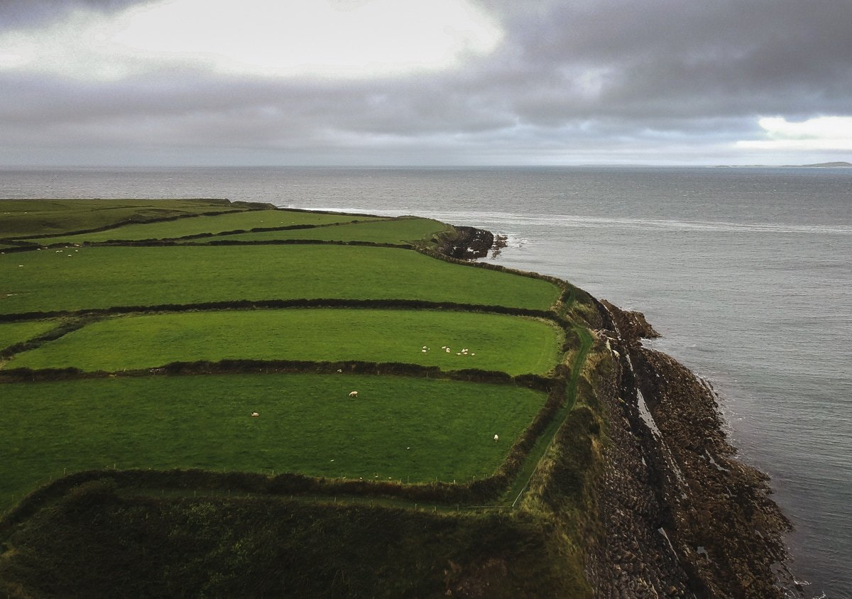 drone shot over sligo irelnd tara group walking to aughris