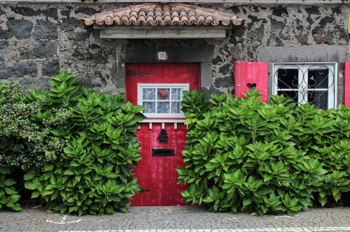 house with red door in the azores